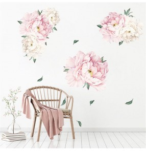 1 set DIY pvc wall sticker Peony flower green leaf self-adhesive home TV sofa bedside background wallpaper sticker wall decor
