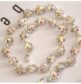 10cm AB color S-shaped glass DIY diamond chain neckline decoration bling dance dress waist decoration waist chain wedding dress shoes bag  hand-sewn decoration chain