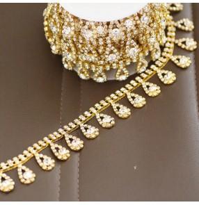 10cm golden drop tassel dance costume Fancy crystal diamond chain Wedding dress DIY accessories neckline hat shoes bag decoration diamond