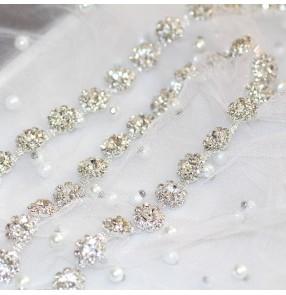 10cm Silver white flower Fancy diamond chain Shiny DIY wedding dress accessories waist neckline dance dress jewelry decoration shoe bag appliques