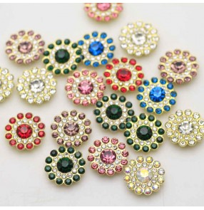 10PCS 14mm colorful flower-shaped rhinestone hand-sewn diamond DIY dance clothes party dress shoes Bag Decoration Glass Diamond Jewelry Accessories