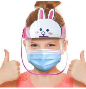10PCS anti direct splash cartoon face shield for kids double layer anti-fog spray saliva proof safety protective full face mask for children