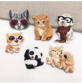 10pcs Garment embroidered cloth cat dog Patch stickers small animal style embroidery cloth stickers cartoon adhesive embroidery logo