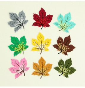 10pcs Wholesale Maple Leaf Embroidered Cloth patch Stickers Multicolor Combination Clothes Adhesive Patch Sticker Embroidery Sticker Custom