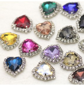 12mm heart rhinestone crystal gem sashes buckle DIY necklace headdress jewelry rhinestone dance clothes bag appliques wedding dress show sequin patch diamond