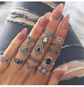 15-piece fashion rings set for women black gemstone diamond sun flower bohemia style alloy ring set