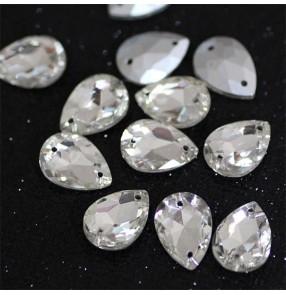 1PC 10*14MM White water drop sharp bottom glass crystal hand-sewn diamond DIY wedding dresses jewelry gem neckline decoration shoes bag DIY rhinestones