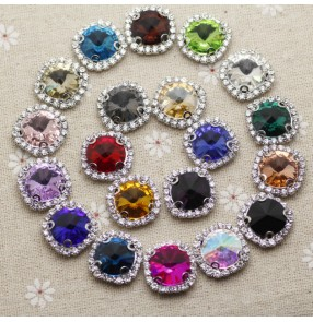 1pc 12mm Round hand-sewn claw gem glass rhinestone flat bottom with hole dance clothes hat belt headdress jewelry wedding dress DIY decoration