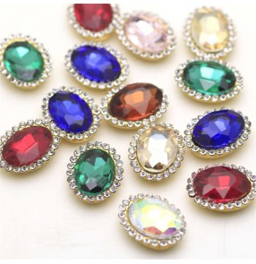 1PC 13x18mm Oval Glass Rhinestone Gem DIY Clothes Hat Bandana headdress wedding dress jewelry Decoration Diamond Gold Bottom with Claw