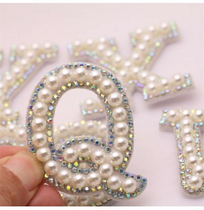1PC 26 uppercase A-Z English letters DIY pearl rhinestone hand-sewn cloth Patch DIY making clothes hats bags jewelry clothing accessories accessories