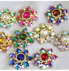 1pc 43mm colorful flower shape DIY rhinestone for clothes Shoes bag decorative diamond DIY dance clothes headscarf hand-sewn