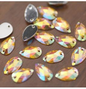1PC 7x12mm Gold AB Water Drop Hand-Sewn Rhinestone Gem DIY Jewelry Yellow Resin Rhinestone Hole Bandana Dance Wear Decorative Rhinestone