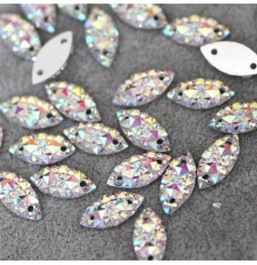 1pc 7X15mm White AB Starry Horse Eye Hand Sewn Rhinestones With Hole Dance Wear Shoes Neckline Decoration Rhinestones Headdress stones