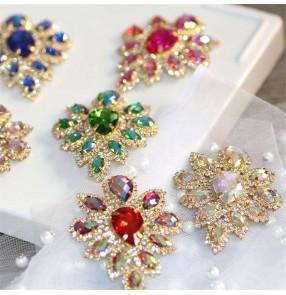 1PC DIY hand-sewn rhinestone gem corsage for evening wedding Dress neckline decorations Dance clothes applique headscarf headdress jewelry ornaments