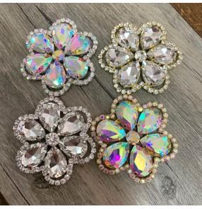 1PC Flower-shaped white DIY glass rhinestone bandana Dance wear hat Bag decoration sweater fur decoration diamond can be hand-sewn