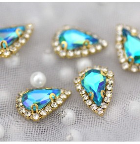 1pc Pointed AB green blue gold bottom hand-sewn claw diamond glass stones ornaments DIY belt bag shoes necklace jewelry accessories Dance dresses rhinestones