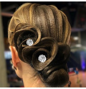 1PC professional Latin dance bling headwear for women girls diamond-studded plate hair U-shaped clip Ballroom dance competition hair accessories