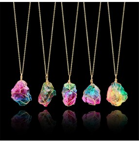 1pc Rainbow Colored natural stone winding crystal pendant transparent chain necklace beach dress fashion jewelry for women