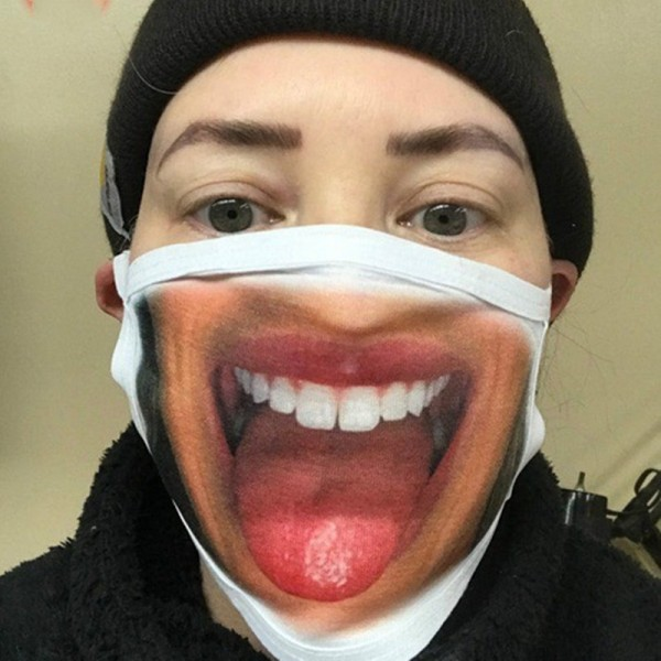 1PC Reusable face masks funny facial expression 3D printed mouth protective  mask for unisex