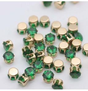 1pc Round Blue green AB purple beads  DIY gem rhinestones for apparel Zircon gold bottom claw drill hand-sewn DIY jewelry accessories Shoe bag Dress decoration accessories