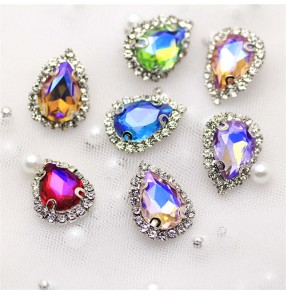 1pc water drop DIY rhinestone Gem for clothes decoration High-end neckline decorative buckle Clothing accessories jewelry bag shoes belt accessories DIY hand-sewn claw diamond