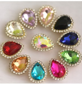 1pc Water drop glass DIY jewelry rhinestone gold bottom with hole diamond decoration hand-sewn claw diamond dance clothes shoes bag hat sashes decoration diamond
