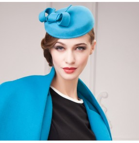 100% Wool Felt Pillbox Hat Party Wedding Bow Veil turquoise camel