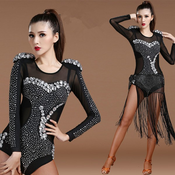 d5c517bce Black rhinestones see through back women's competition night club jazz pole  dance singers ds cosplay dancing dresses bodysuits hip scarves outfits