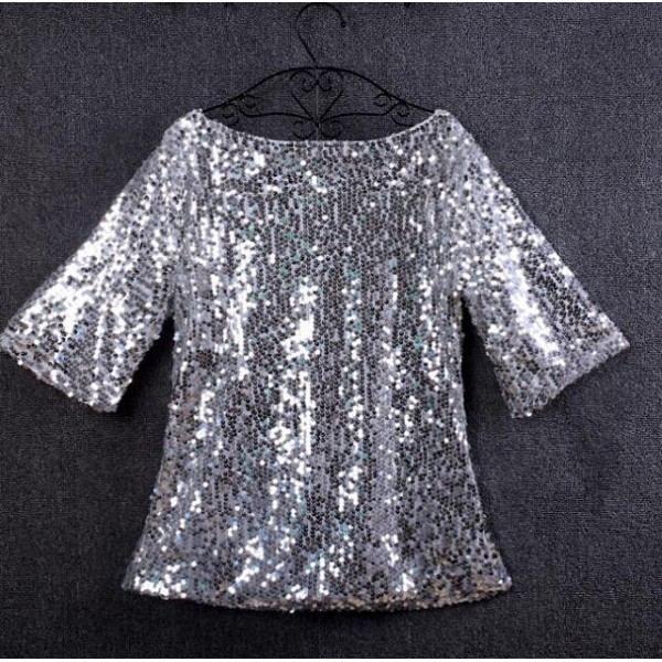 571eeba79f894 Black silver gold sequins glitter shiny girls women s plus size performance  jazz singers dancers dancing t shirts tops