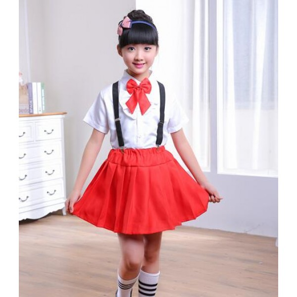 England Style Red Plaid Red Black Skirt White Shirt With