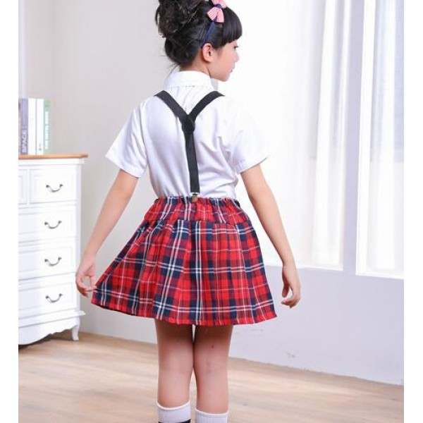 b870a63288 England style red plaid red black skirt white shirt with bow tie girls kids  children kindergarten stage chorus dresses performance school play uniforms  ...