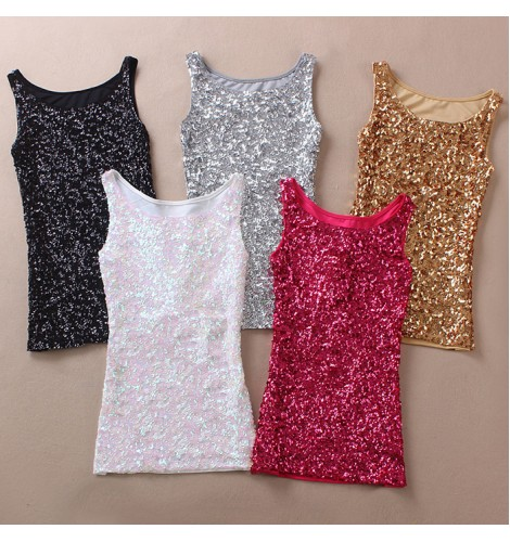 1d9c4795413e5 Turquoise royal blue fuchsia pink gold silver sequins paillette girls  women s night club hot dance jazz singers cheer leading dancing vests tops