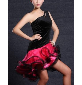 Black and fuchsia patchwork asymmetrical one shoulder backless girls women's ladies competition professional latin salsa cha cha dance dresses