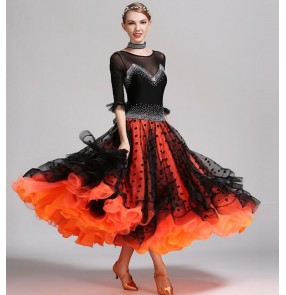 Black  and orange patchwork rhinestones diamond handmade polka dot competition women's girls professional ballroom tango waltz dance dresses outfits