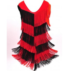 Black and red patchwork fringes tassels competition performance women's girls latin salsa dance dresses outfits
