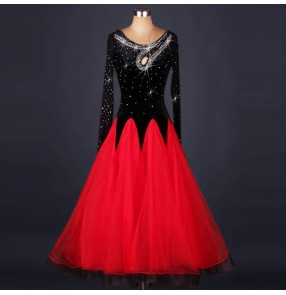 Black and red patchwork long sleeves rhinestones competition women's long length ballroom waltz tango dancing dresses outfits