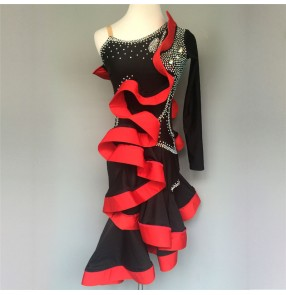 Black and red patchwork rhinestones luxury one shoulder competition girls women's latin cha cha salsa dance dresses