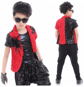 Black and red patchwork sequins paillette boys kids child school performance competition catwalk jazz drummer dance waistcoats