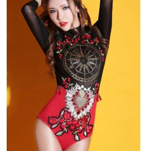 Black and red patchwork vintage European style fashion women's singer jazz night club dancers cos play performance dancing outfits jumpsuits leotards