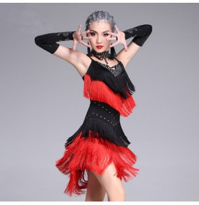 Black and red royal blue and fuchsia patchwork rhinestones tassels girls women's competition latin salsa dance dresses