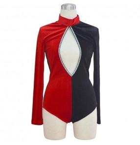 Black and red velvet patchwork hollow front sexy singers dancers women's girls performance jazz dance outfits leotards bodysuits
