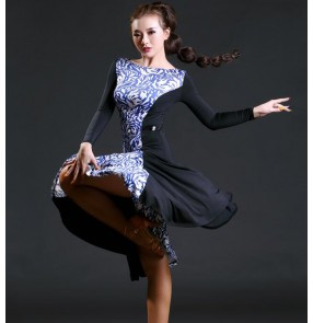 Black and white leopard black patchwork long sleeves fashion sexy girls women's competition latin dance samba salsa dresses