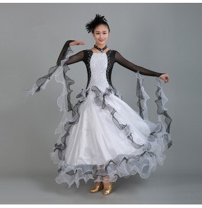 Black and white patchwork rhinestones competition professional standard women's girls tango waltz ballroom dance dresses