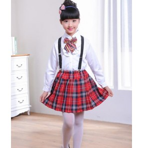 Black and white red plaid England style fashion girls kids children school play party kindergarten chorus dancing dresses outfits