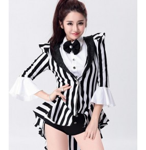 Black and white striped fashion modern dance women's ladies female jazz singer cos play party bar club dancing tuxedo bodysuits outfits