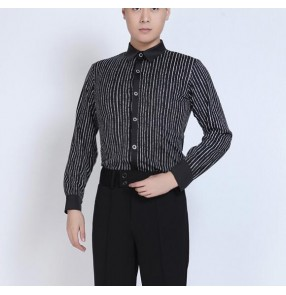 Black and white striped long sleeves stand collar men's male competition latin salsa dance shirts tops