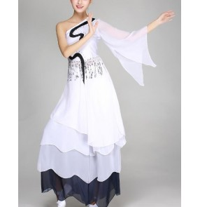 Black and white traditional ancient one shoulder modern dance fairy dancers singers cocktail party masquerade dancing dresses outfits costumes
