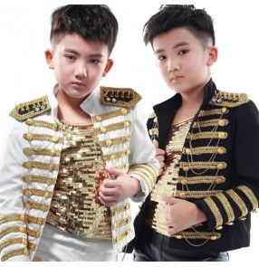 Black and white with gold  button rivet appliques England style fashion boys kids children jazz hip hop singers dancers cosplay performance tops jackets