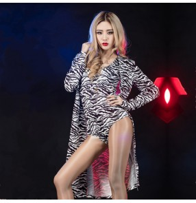 Black and white zebra printed sexy fashion women's ladies 2in1 Singer jazz dancers night club bar dancing cloak performance outfits costumes