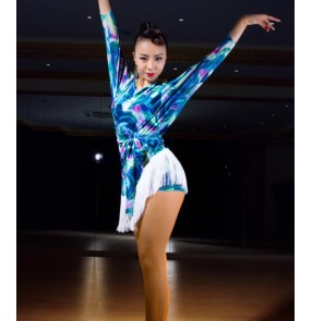 Black blue floral printed velvet fringes competition performance women ladies competition latin salsa cha cha dance dresses